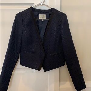Navy blue blazer with suede detail